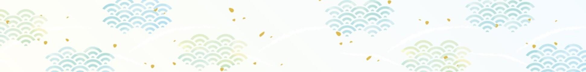 青海波 和紙風 水彩風タッチ背景
