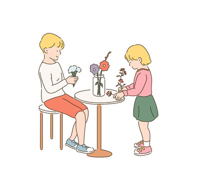 My brother and my little sister are arranging flowers. hand drawn style vector design illustrations.