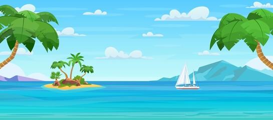 Cartoon tropical island with palm trees - fototapety na wymiar