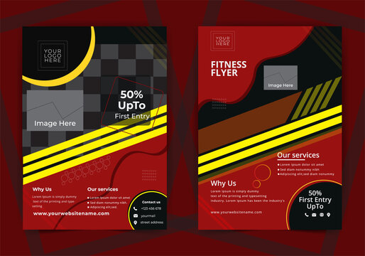 Gym Flyer Template, Fitness Centre or sports event, Fitness Flyer Design, Fitness Center Flyer & Poster Cover Template, Vector layout design