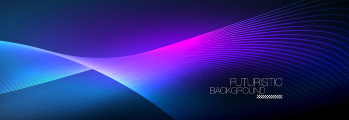 Obraz Abstract neon glowing light in the dark with waves. Shiny magic energy and motion concept, vector abstract wallpaper background - fototapety do salonu