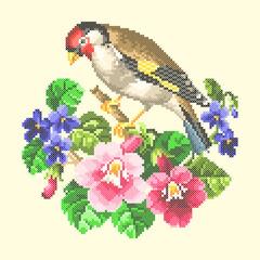 Fototapeta vector art embroidery bird and flowers obraz