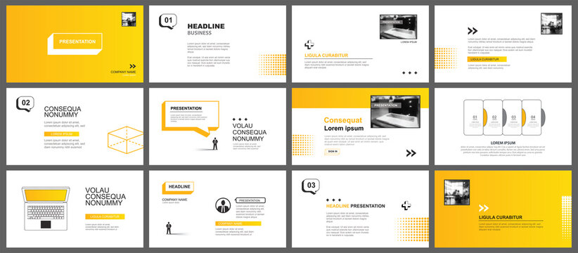 Presentation and slide layout template. Yellow geometric modern design background. Use for business annual report, flyer, marketing, leaflet, advertising, brochure, modern style.