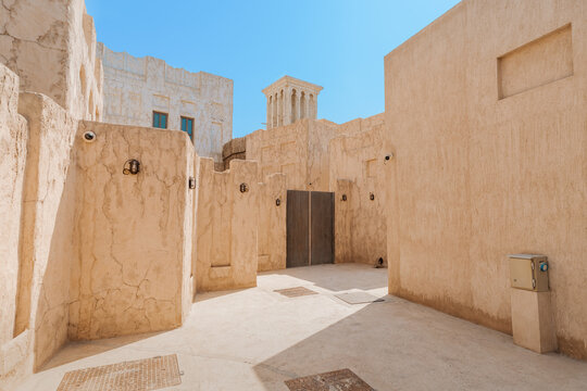 Shindagha historic district in Dubai Creek neighbourhood is a popular tourist and sightseeing attraction in UAE