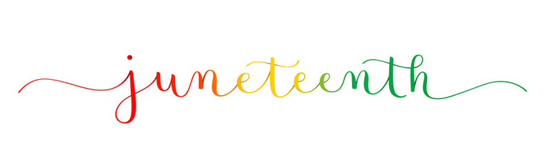 Obraz JUNETEENTH colorful vector brush calligraphy banner isolated on white background - fototapety do salonu