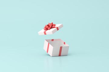 Obraz 3D rendering of open gift box on green background. - fototapety do salonu