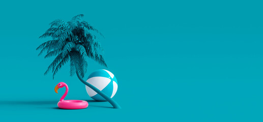 Fototapeta Pink flamingo and palm tree on blue summer background 3D Rendering, 3D Illustration obraz
