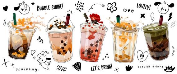 Fototapeta Bubble milk tea adswith cute doodle decoration. Boba milk tea, Pearl milk tea and yummy drinks banner in 3D illustration.  Realistic cold tea with tapioca splashing liquid. Vector illustration. obraz