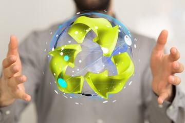 Fototapeta Concept of recycling - 3d rendering eco obraz