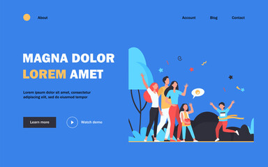 Obraz Happy crowd greeting little winner of racing. Fun, running, support flat vector illustration. Competition and childhood concept for banner, website design or landing web page - fototapety do salonu