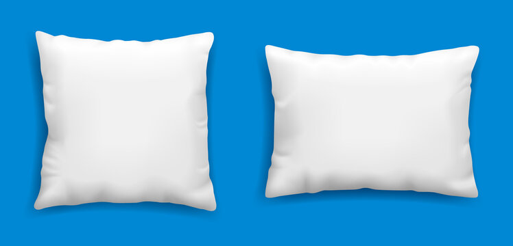 Clean white pillows mockup isolated on blue background, vector illustration in realistic style. Square cushion for relaxation and sleep template.