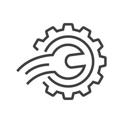 Fototapeta Maquinaria industrial. Logotipo engranaje con herramienta llave con lineas de velocidad en curva en color gris obraz