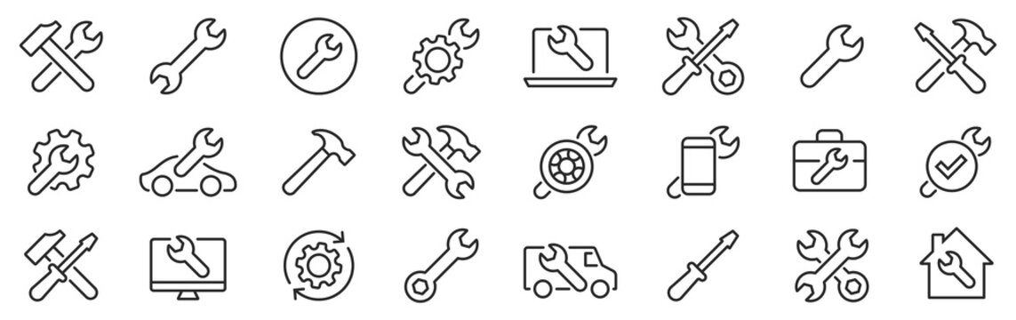 Repair line icons set. Screwdriver, Wrench, Hammer. Auto service. Vector