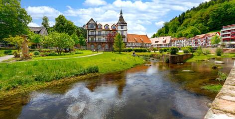 Obraz Bad Herrenalb,Alb und Altstadt - fototapety do salonu
