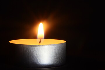 Świeczka, ogień, czarne, światło, wosk, jasność
