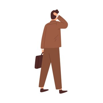 Questioned confused man hesitating, standing in doubt before difficult business decision. Puzzled pensive businessman. Colored flat vector illustration of concerned person isolated on white background