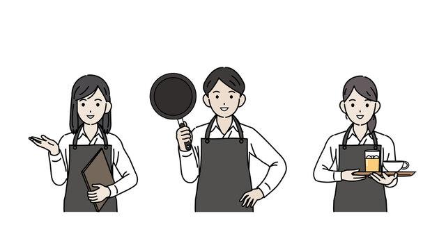 飲食店 ホールスタッフ ウェイトレス パート アルバイト 男女 イラスト素材