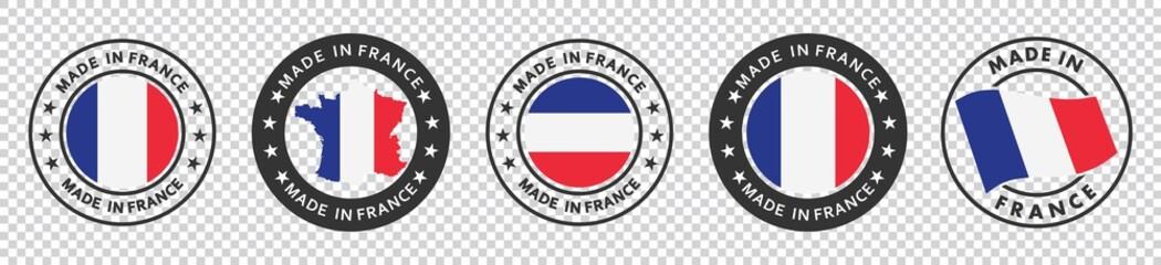 Fototapeta set of made in the france labels, made in the france logo,  france flag , france product emblem, Vector illustration. obraz