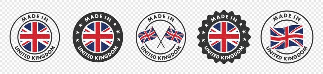Fototapeta set of made in the united kingdom labels, made in the britain logo,  united kingdom flag , england product emblem, Vector illustration. obraz