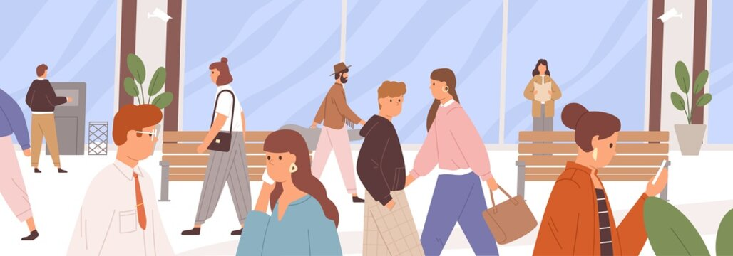 Different people walking along city street. Daily urban life. Horizontal cityscape with human traffic. Panoramic town scene with citizens. Colored flat vector illustration of pedestrians