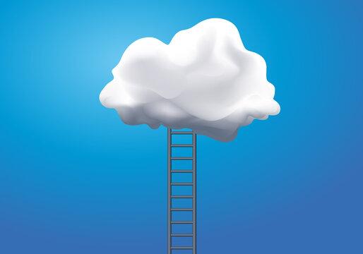 Concept de la rêverie et de l'évasion du réel avec une échelle qui rejoint un nuage blanc.