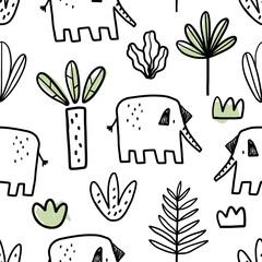 Vecteur dessiné à la main enfantin sans couture répétant un motif plat simple avec des éléphants, des plantes et des griffonnages dans un style scandinave sur fond blanc. Mignons bébés animaux. Modèle pour les enfants.
