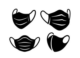 Black Medical Surgical Face Masks. Virus Protection  - fototapety na wymiar