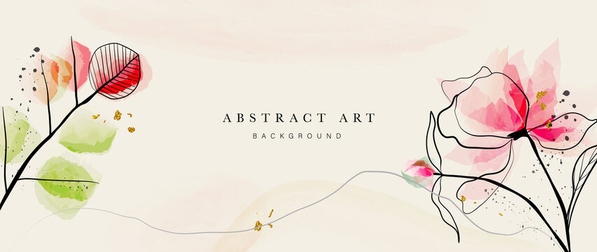 Abstract art botanical background vector. Luxury wallpaper with pink and earth tone watercolor, leaf, flower, tree and gold glitter. Minimal Design for text, packaging, prints, wall decoration.