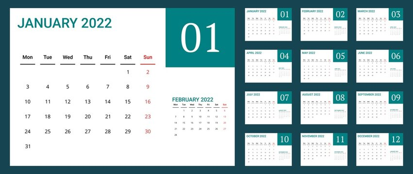 2022 calendar with simple design. vector of calender 2022.corporate wall calendar ready to print. week start on monday. sunday as weekend. good for daily log, business, timetable, planner, etc.