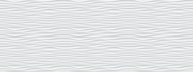 Obraz Wall texture wave pattern, white paper background, vector modern seamless abstract decor with surface ripples, geometric cover decoration design - fototapety do salonu