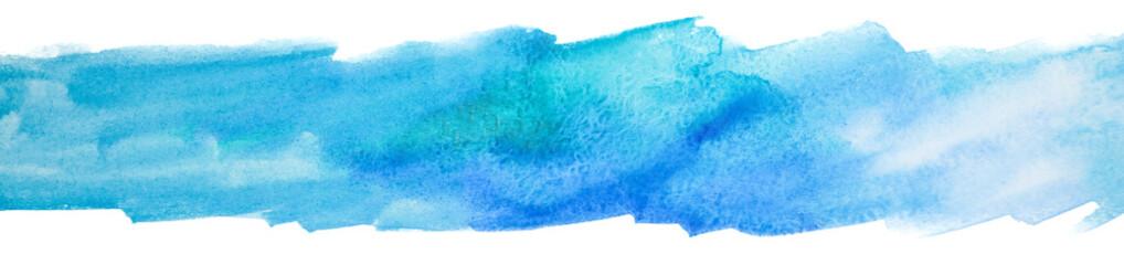 Fototapeta Watercolor element texture on white background. blue stripe background. obraz