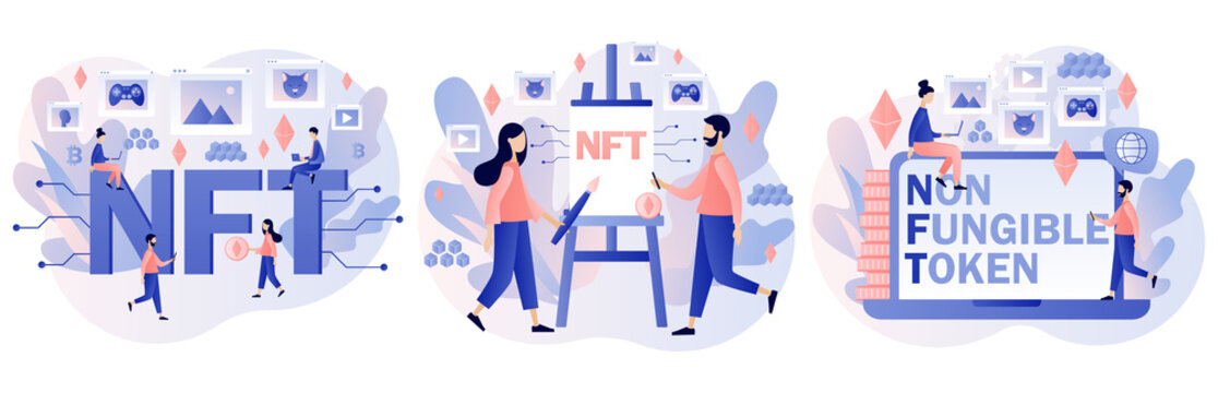 NTF. Non-fungible token. Tiny people investing in Crypto art, game, video. Online gallery nft art. Internet marketplace and blockchain technology. Modern flat cartoon style. Vector illustration