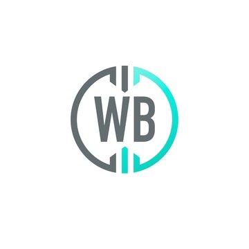 Initial Letter WB Circle Simple Creative Logo Design Template. Circle template logo company