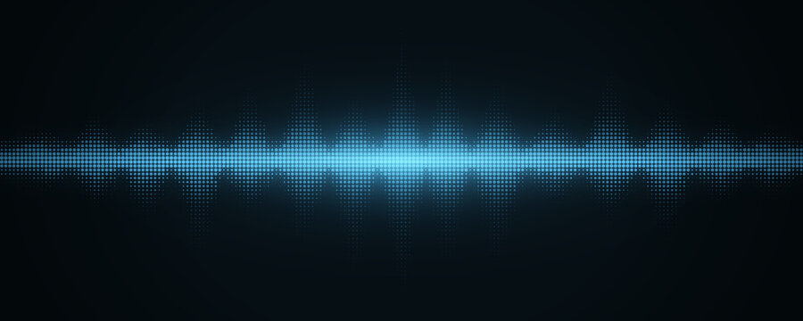 Sound light waves with halftone effect. Abstract background with glowing music equalizer for club party, pub, event dj or concert. Musical pulse and vibration on waveform. Vector illustration.