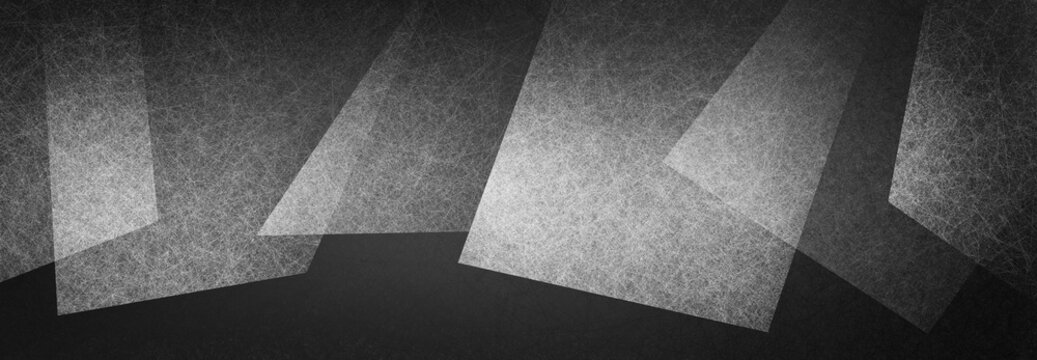 abstract black and white background, geometric shapes layered in random pattern, creative border decoration with texture and abstract triangle and block shapes