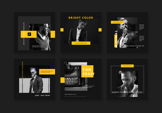 Modern Social Media Layouts with Contrast Yellow Accents on Black