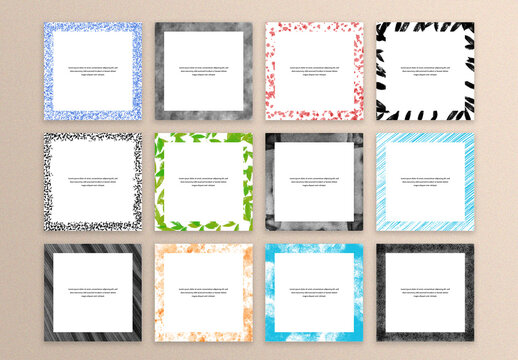 12 Abstract Creative Frames for Social Media Post Layouts