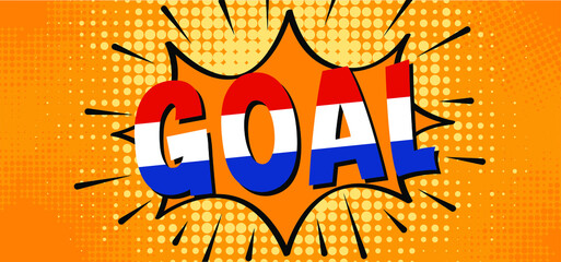 Fototapeta Slogan goal with football with flag of the Netherlands on green soccer grass field. Vector background banner. Sport finale wk, ek or school, sports game cup.  Holland or Dutch orange supporters. 2021 obraz