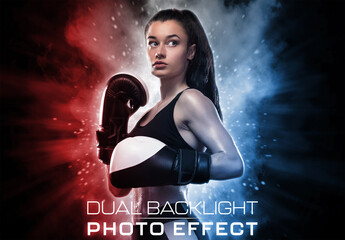 Fototapeta Dual Backlight Photo Effect Mockup with Two Glowing Color  obraz