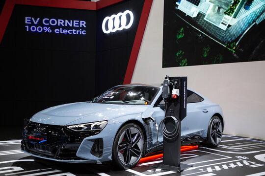 Thailand - Mar 25, 2021: Audi RS e-tron GT on display at Thailand International Motor Show 2021 Arina Muangthong Thani or Motor Expo in Bangkok, Thailand.