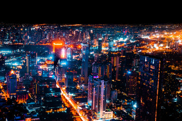 Obraz Bangkok, Thailand, Aerial view of Bangkok city in Thailand - fototapety do salonu