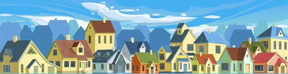 Fototapeta A village or a small rural town. Small houses. Street in a cheerful cartoon flat style. Small cozy suburban cottages. Clouds and sky. Vector. obraz