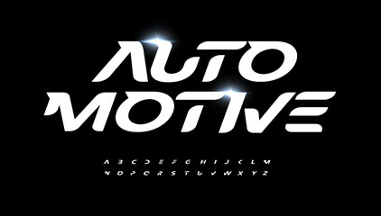 Fototapeta Automotive alphabet letter font. Modern logo typography. Speed race and active sport vector typographic design. Bold italic type for fast logo, headline, dynamic title, fit monogram, active lettering obraz