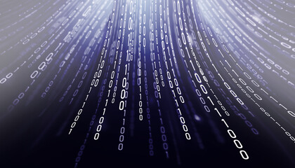 Blue lines of binary code. Computer matrix background with numbers. - fototapety na wymiar