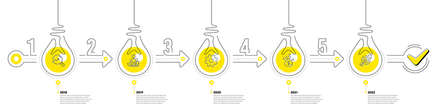 Infographic timeline with lamp light bulbs icons. 5 steps idea journey path concept of business project process. Infographic path timeline. Business journey money goal. Continuous line bulbs. Vector