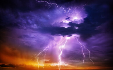 Thunder and lightning in thunderclouds