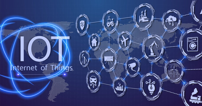 The concept of connecting devices using IOT technology. ICT (Information Communication Technology) IoT and cryptocurrencies, fintech concept, composition with planet. Communication network concept