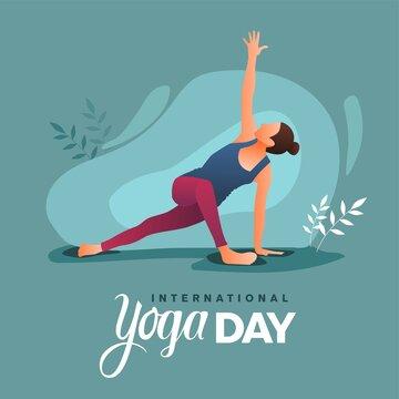 international yoga day. yoga body posture. Woman practicing yoga. vector illustration design
