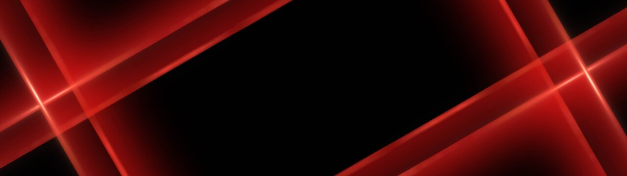 Abstract modern background with crossed tapes around place for your text - red on black - 3D Illustration