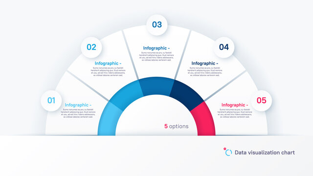 Vector round infographic chart template in the form of semicircle divided by five parts